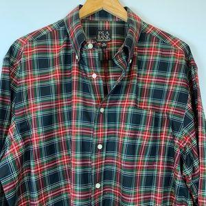 Jos.  A. Bank plaid tartan button down men's shirt
